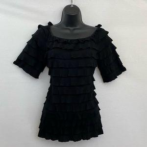 🎉3/$20 New Directions Black Blouse Sz Large L-48